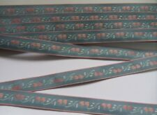 "5/8"" Antique Blue / Pink Heart Flowers Woven Jacquard Ribbon-2 Yards(T243L)"
