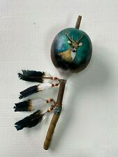 Hand Painted Dance Gourd Rattle , Ceremonial , Santa Fe Style , Deer