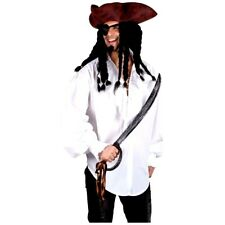 Mens Caribbean White Pirate Shirt Adult Large Fancy Dress Costume Accessory