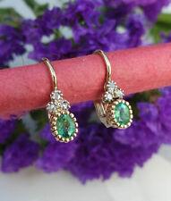 Beautiful Dainty Emerald & Diamond Earrings in 14ct Yellow Gold