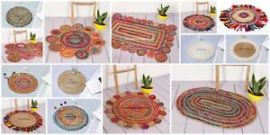 Area Rug Braided In Many Sizes & Shape Hand Made Natural Jute and Wool Blend
