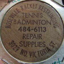 Vintage Roseville Racket Restringing St. Paul, MN Wooden Nickel Token Minnesota