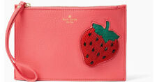 Kate Spade New York Strawberry On Purpose Leather Wristlet Clutch Beaded New
