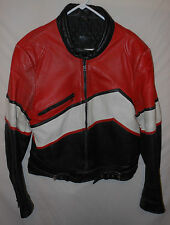 Vtg. Leather Motorcycle Jacket Cafe Racing Sport Bike Tri Color EUR 58 US 42