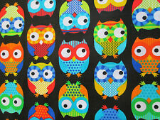OWLS HOOT MULTI COLORED OWL BLACK COTTON FLANNEL FABRIC FQ