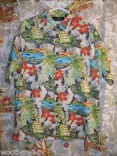 Consensus Aloha Shirt Palm Trees Green Size Mens L Hawaiian Cotton Mix Pocket