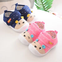 Kids Baby Boy Girl Cartoon Anti-slip Shoes Cotton Fabric Sole Squeaky Sneakers