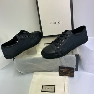 Gucci GG Supreme Canvas & Leather Shoes, Black, Size UK 8, Brand New With Box