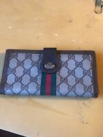 Auth Vtg Gucci Brown Coated Leather Sherry Web Stripes Wallet-Beautiful Preowned
