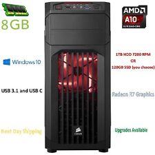 AMD A10 Quad core 4.0GHZ 8GB 1TB HDMI Custom Built Desktop Gaming Computer USB C