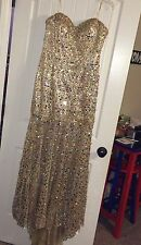Panoply Gold Strapless Beaded Prom Pageant Dress Gown Size 14