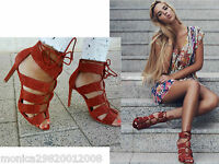ZARA LEATHER BRAIDED HIGH HEEL SANDALS SHOES SIZE 38 39 40
