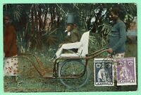 PORTUGUESE CONGO PPC CHIMPANZEE in SEDAN CHAIR 2 CERES stamps pmk CABINDA 1918