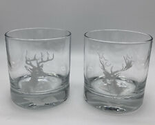 Pottery Barn Set of 2 Stag Etched Double Old Fashioned Glasses New
