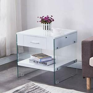 Modern High Gloss Glass Bedside Table Side Coffee End Lamp Sofa Table