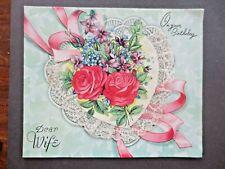 Vintage BIRTHDAY Card 1950s Dear Wife Lace Edged Heart UNWRITTEN Maxam Series