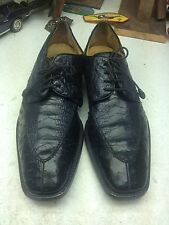 HANDMADE SPAIN AVVENTURA BLACK OSTRICH LEATHER LACE UP OXFORD POWER SHOES 12M