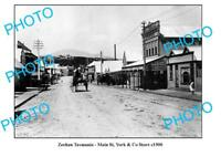 OLD LARGE PHOTO FEATURING ZEEHAN TASMANIA VIEW OF THE MAIN STREET c1900