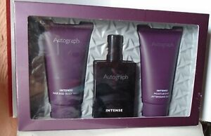 """BOXED MENS GIFT SET BY M & S: """"AUTOGRAPH INTENSE"""" EDT 30ml, AFTER SHAVE BALM ETC"""