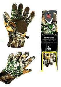 realtree edge camo heavy weight gloves men's size l - xl waterproof