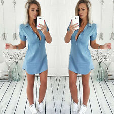 Vintage Loose Casual Women Jeans Mini Dress Short Sleeve Party Nylon Shirt Dress