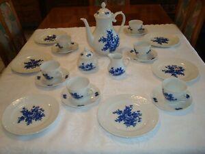 Kaffee Service für 6 Personen - Bavaria Arzberg Schumann - Echt Cobalt - Rosen