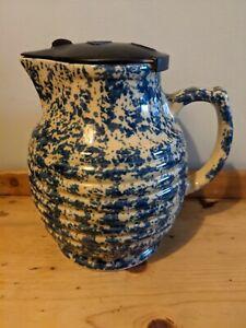 1940s Rowco Beehive mottled blue Electric Ceramic Jug Australian Pottery