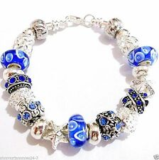 22 pc Finished 20 CM  EUROPEAN CHARM BRACELET Blue 2 Stopper Beads Incl C20