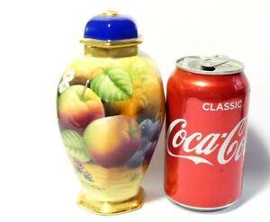 "Hand Painted Signed J. MOTTRAM Brookdale China Hexagonal Lidded Vase Fruits 6"""