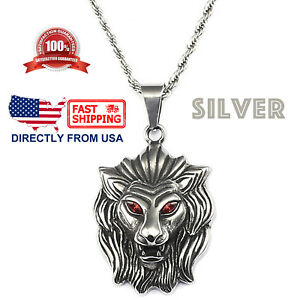 Mens Biker Jewelry, Large Lion with Red Crystal Eye Pendant Necklace