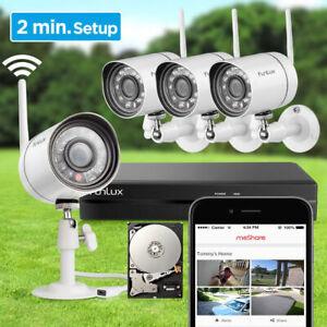 Funlux 4 Wireless 720P HD  Videoüberwachung Sicherheitssystem + 500 GB HDD