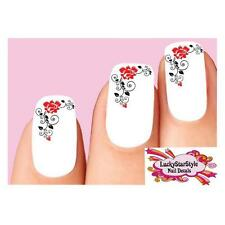 Waterslide Flower Nail Decals Set of 20- Red & Black Roses with Swirls and Vines