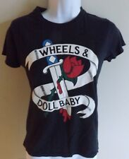 Wheels & Dollbaby black t-shirt with logo size 6-8 for fashionistas