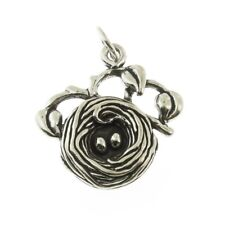 925 Sterling Silver Birds Nest Charm Made in USA