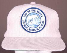 Vtg Alaska Hat-UIC-NARL Barrow AK-Patch-Polar Bear Arctic-Snapback-Tan-Corduroy