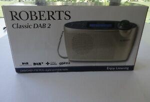 Mint Box Roberts Classic DAB2 FM RDS Digital Portable Radio UK AC Cord 6 Battery