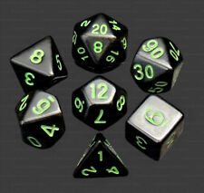 7 Piece Polyhedral Dice Set Mystic Forest Opaque Black Green Numbers - Black Bag