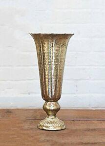 Distressed Gold Metal Fluted Vase