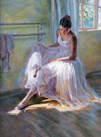 Art Oil painting beautiful young ballet girl in white Ballet skirt Hand painted