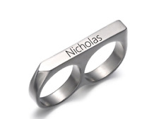 TWO FINGER NAME RING: STERLING SILVER, 24K GOLD