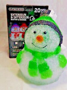 Lumineo Outdoor LED Acrylic Snowman 24cm 20 Cool White Lights - GREEN