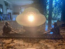 Rare Art Deco Boudoir Lamp Frankart Period Nude Nymphs Green Glass Saucer Shade