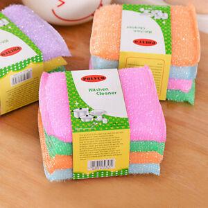 4 PCS/lot Kitchen nonstick oil scouring pad cleaning cloth sponge washing cDSUK