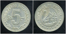 BOLIVIE   5  pesos 1976
