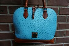 Authentic Dooney & Bourke Zip Zip Pool Blue Ostrich Leather Satchel--NWT $248