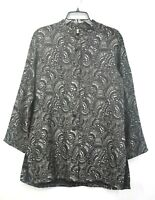Chicos Womens Gray Paisley Print Button-Up Long Sleeve Cardigan Jacket Size 2