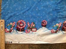 "Daisy kingdom snowman Joy double border fabric 2 yards 26""  rare"