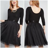 ModCloth Solid A-Line Dress with Tulle Skirt NWOT Size S Black 3/4 Sleeves