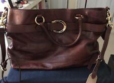 Women's Ralph Lauren Brown Leather Shoulder Bag Gold Hardware Detachable Strap