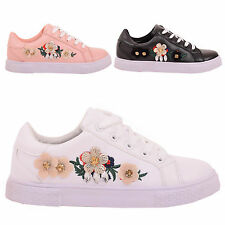LADIES WOMENS TRAINERS CASUAL EMBROIDERED EMBELLISHED SNEAKERS LACE SHOES SIZE